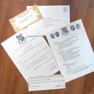 Lettre d'admission à Poudlard personnalisée