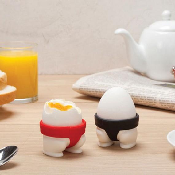 Sumo eggs - Coquetiers sumos noir et rouge