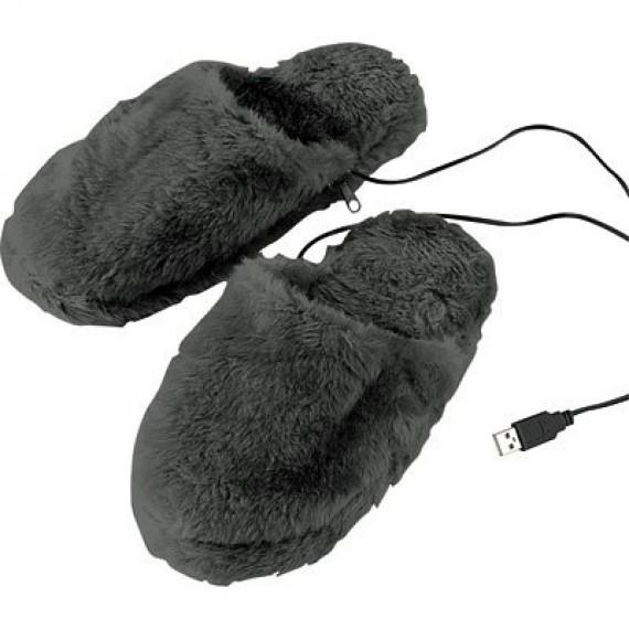 Chaussons chauffants USB noir