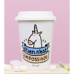 """Mug à emporter Licorne """"Rien n'est impossible"""""""
