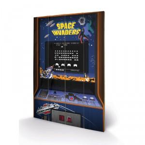 Panneau en bois Space Invaders Arcade 3D