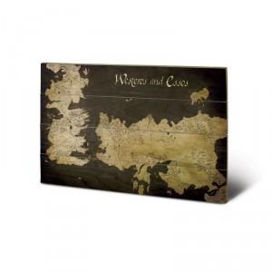 Panneau en Bois Carte de Westeros & Essos Game of Thrones