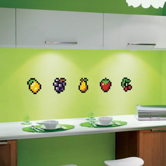 Stickers en forme de fruits pixels