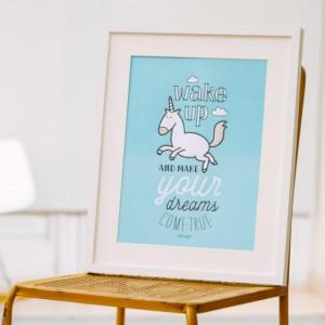 Affiche licorne en relief - Wake up and make your dreams come true