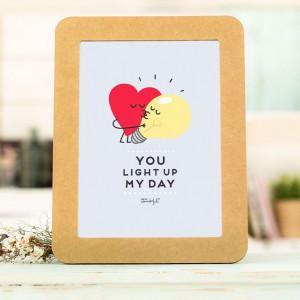 Affiche en relief et cadre en carton - You light up my day