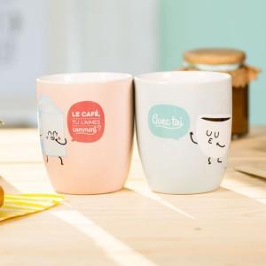 Set de 2 mugs - Le café, tu l'aimes comment ? Avec toi !