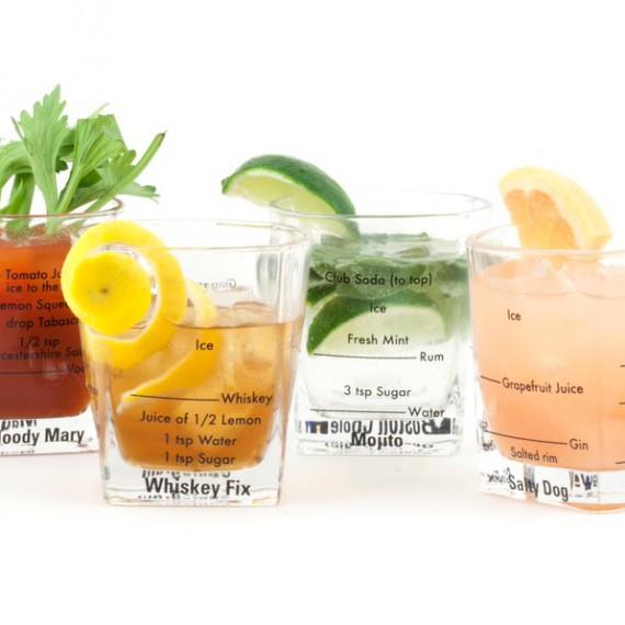 """Set de 4 verres à cocktail """"Recettes"""""""
