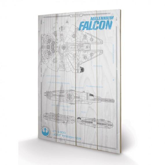 Panneau en bois Plans Faucon Millenium - Star Wars