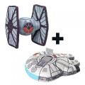 Peluche Faucon Millenium + Tie Fighter Star Wars