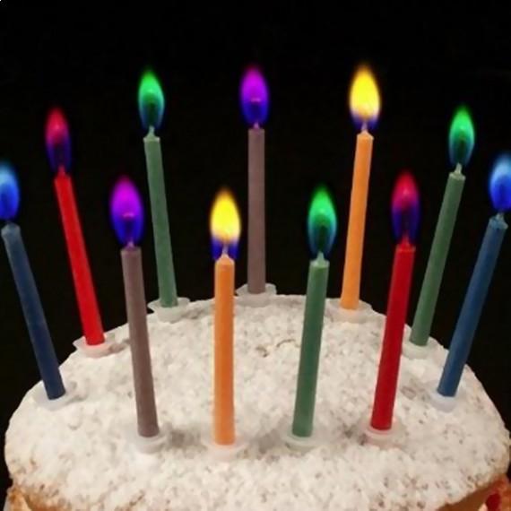 Lot de 12 bougies colorées