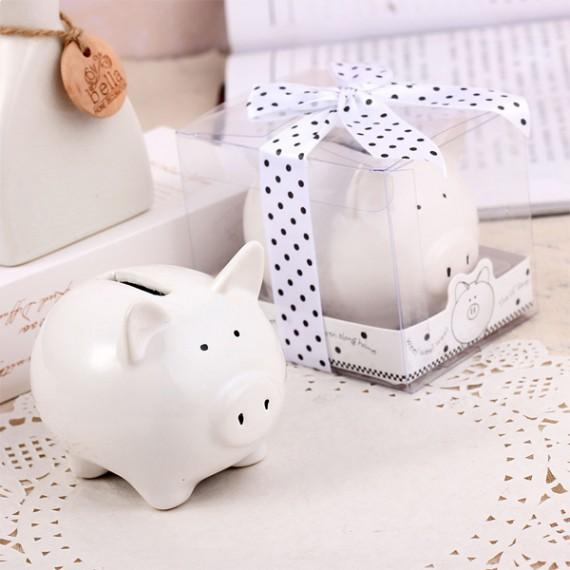 Tirelire cochon blanc