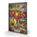 Panneau en Bois Iron Man Retro