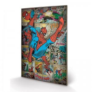 Panneau en Bois Spiderman Retro