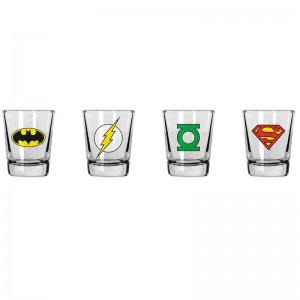 Lot de 4 Verres à Shot Logos DC Comics