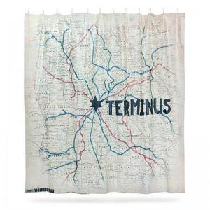 Rideau de Douche Terminus Map - The Walking Dead
