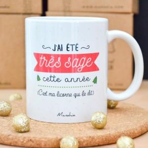 Mug Licorne de Noël   J'ai été très sage cette année (C'est ma licorne qui le dit)
