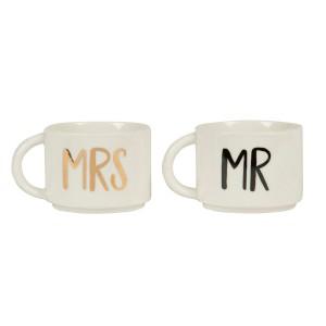 Set de 2 mugs emboîtables pour couples - Mr & Mrs
