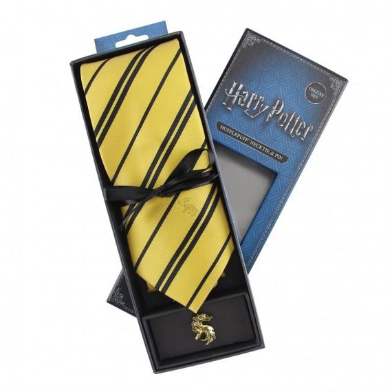 Cravate Deluxe Pouffsoufle avec pin's - Harry Potter