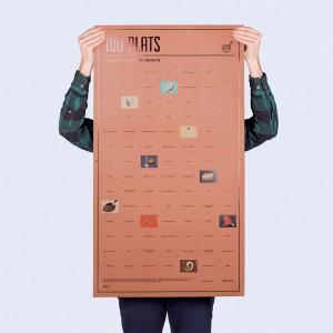 Poster 100 plats à goûter dans sa vie