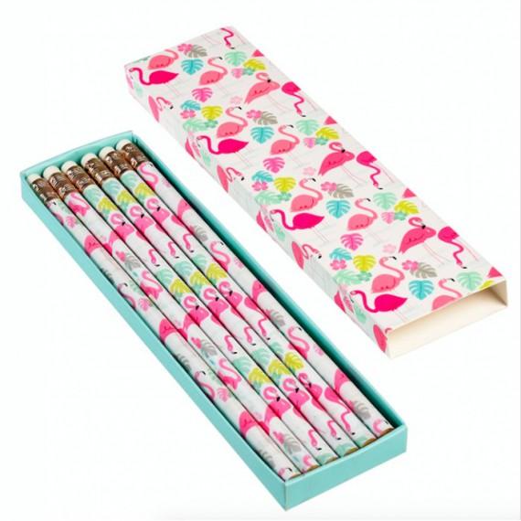 Pack de 6 crayons flamant rose