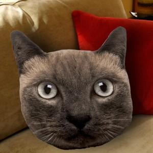 Coussin hyper réaliste - tête de chat