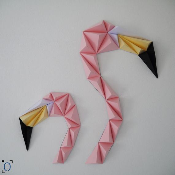 Duo de flamants roses origami DIY - Made in France