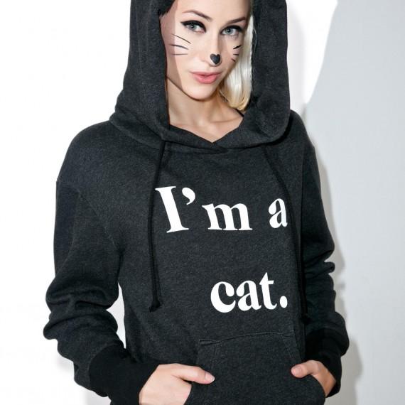Sweat hoodie avec capuche et oreilles de chat
