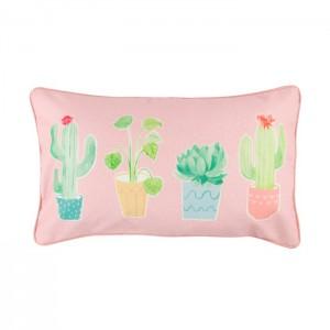 Coussin pastel aux cactus