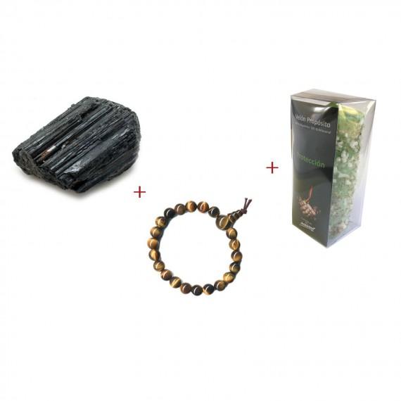 Coffret de protection avec bracelet, pierre et bougie