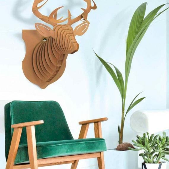 Tête de cerf 3D en carton