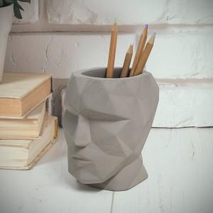 Pot à crayon - Tête de béton