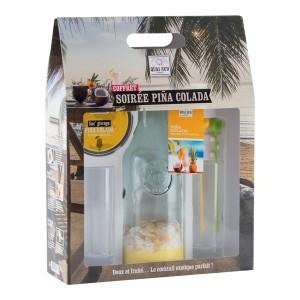 Coffret mélange pour une soirée Piña Colada + 2 verres