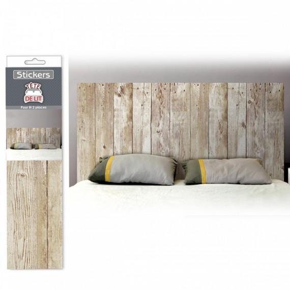 Stickers Tête de lit effet planches de bois
