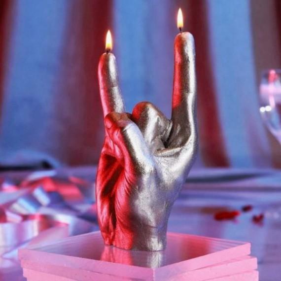 Bougie XXL main signe des cornes rock/metal - noir ou argent