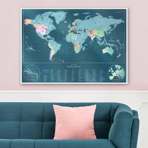 Carte du monde à gratter brillante