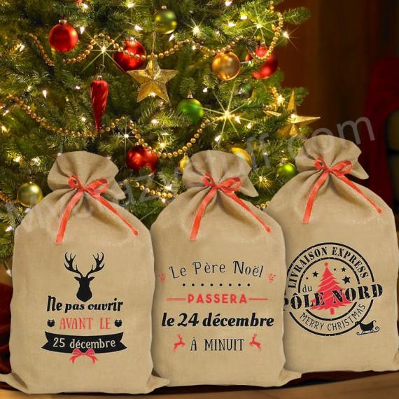 Lot de 3 sacs hottes à cadeaux du père noël