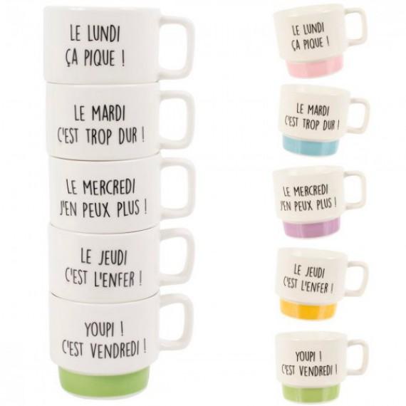 Coffret 5 tasses à café semaine