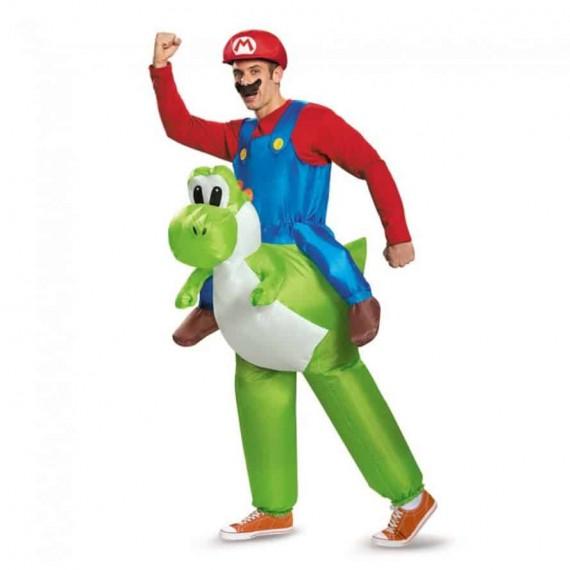 Déguisement Mario Bros sur Yoshi adulte