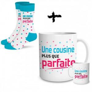 Ensemble mug et chaussettes Cousine parfaite