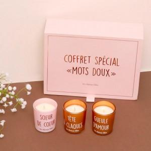 Coffret 6 bougies - Mots doux