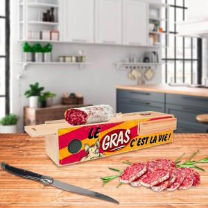 Boîte à saucisson humoristique avec couteau le gras c'est la vie