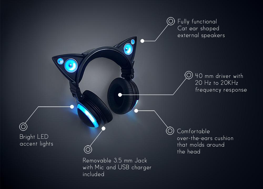 un casque audio oreilles de chat et enceintes int gr es pigsou mag. Black Bedroom Furniture Sets. Home Design Ideas