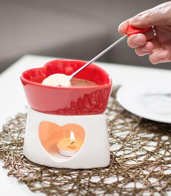 fondue chocolat coeur cémarique rouge