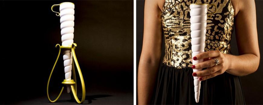 Alerte : flûte de champagne en forme de corne de licorne. On va craquer !!!