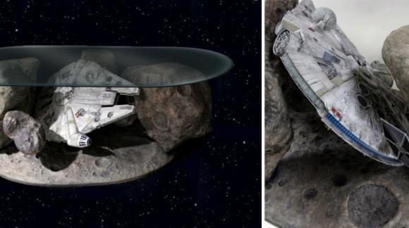 Design Star Wars : la table basse Millenium Falcon au coeur d'un astéroïde